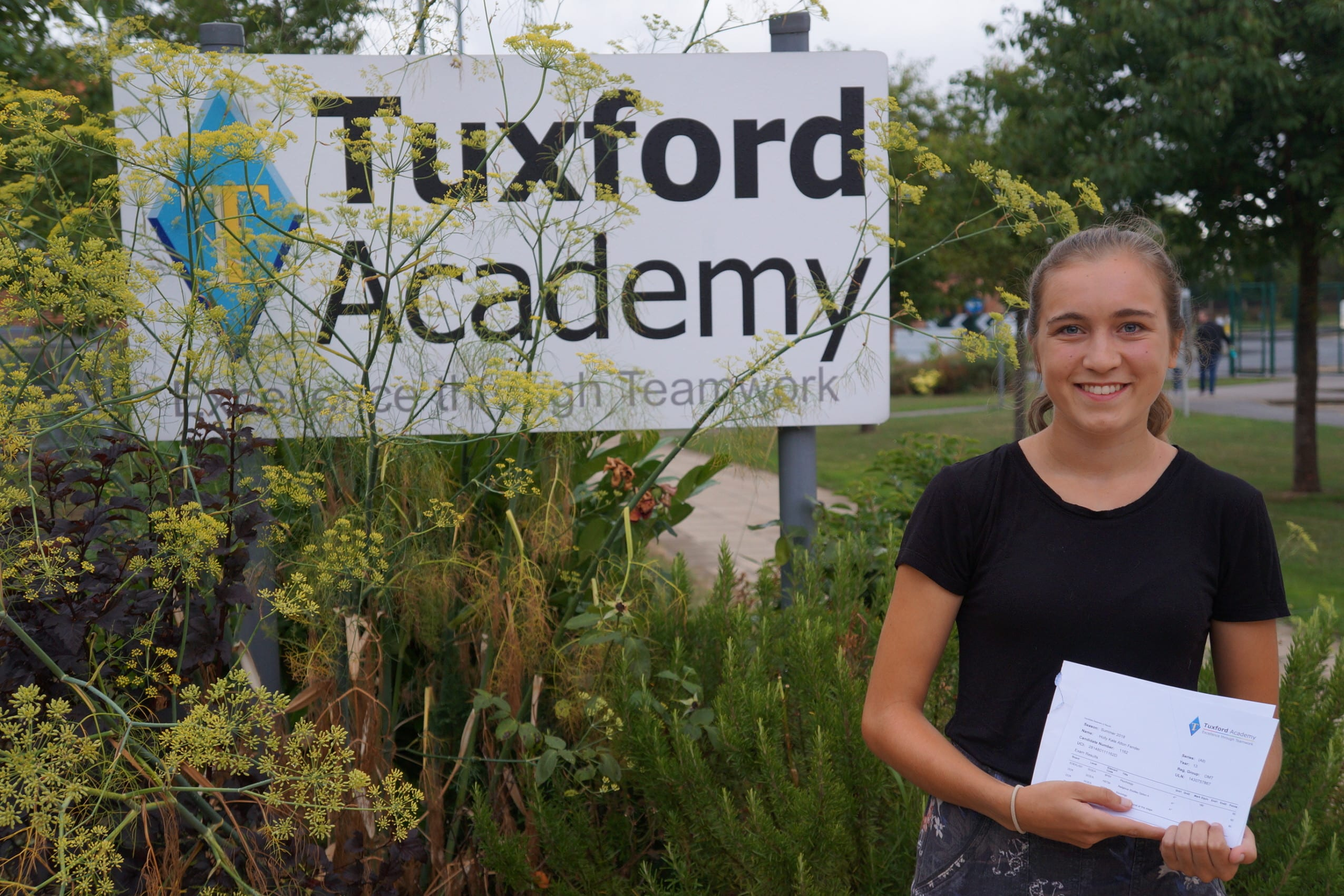 Tuxford Academy students celebrating as 100% pass A Levels